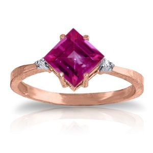 14K. SOLID GOLD RING WITH DIAMONDS & PINK TOPAZ